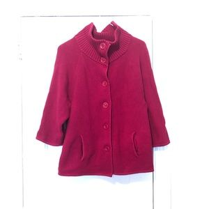 Talbots Cranberry thick sweater with buttons. Med